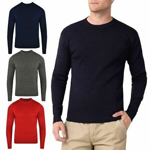 Mens-Crew-Neck-Office-Jumper-Pullover-Plain-Warm-Winter-Sweater-Top-Sweatshirt