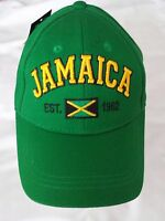 Jamaica Cap Hat Green With Jamaica Est. 1962 Flag Adjustable Youth Size