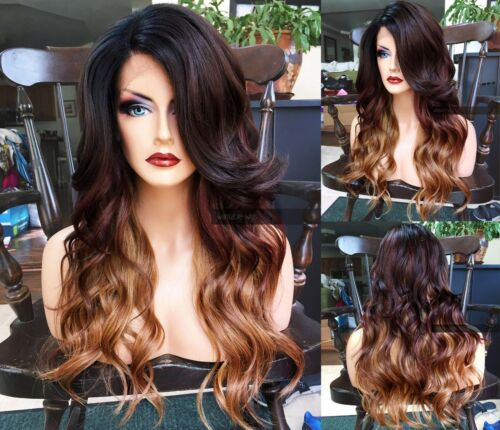 USA: HEAT OK Wavy Brown Blonde Ombre BABY HAIR Lace FRONT Dark Root Wig