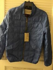 $795 Burberry Brit Down-Filled Quilted Bomber Blue Jacket XS-M