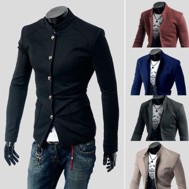 Men's Fashion Slim Fit Casual Button Suit Coat Jacket Business Blazers