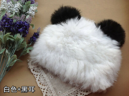 Women Warm 100/% echte Kaninchen Pelzmütze Strick-Ski-Hut Beanie Cap Baskenmütze