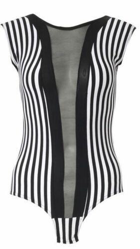 Damen Netzeinsatz Vertikal Streifen Body Damen schwarz /& Weiß Trikot TOP