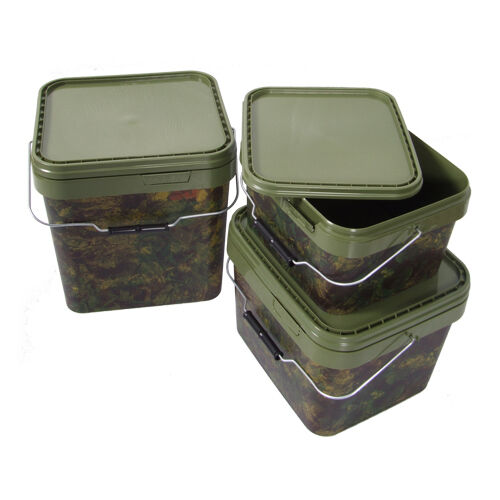 2 x GARDNER TACKLE 17ltr SQUARE CAMO BUCKETS FOR CARP FISHING BRAND NEW