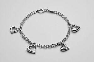 Dorfman Sterling Open Heart Charm Bracelet