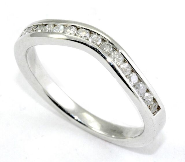 Diamond Wedding Ring Band 0.30 Carat CURVED 14K White Gold Classic Channel set