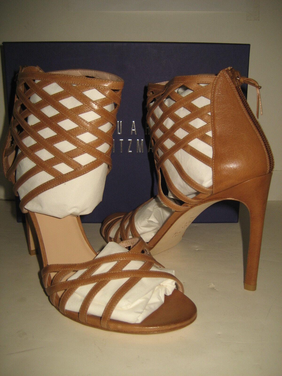 535 NEW Stuart Weitzman Cajun Woven Brown Pelle Sandals   10 High Heel Shoes