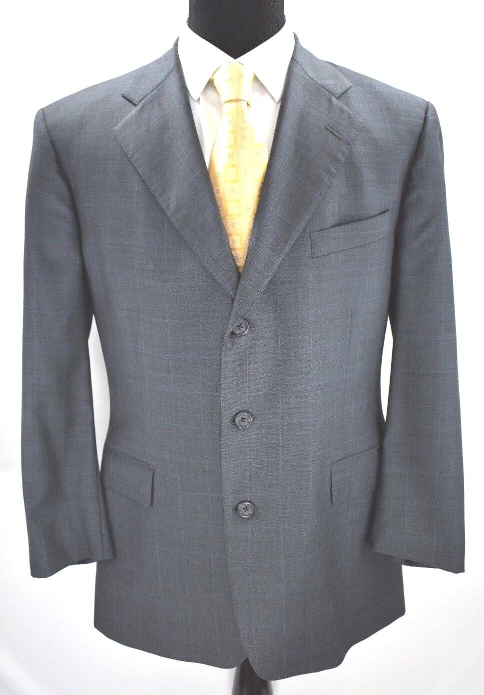 Brooks Bredhers Makers Hand Tailored Mens Charcoal Windowpane Sport Coat Sz 44R