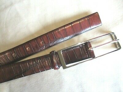 Roberto Piccinetti Large Ladies Stamped Leather Brown Belt Narrow Made In Italy | eBay
