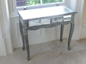 Image Is Loading Black Embossed Mirrored Console Table 2 Drawer