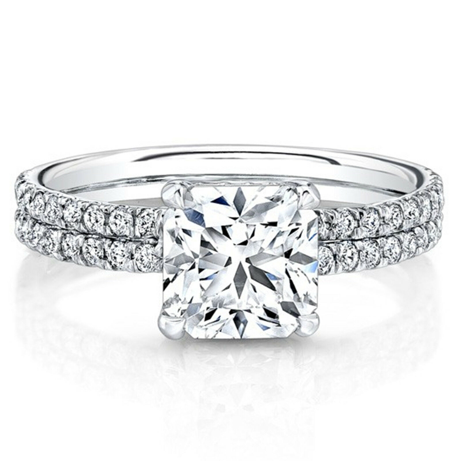 0.77 Ct Certified Real Diamond Engagement Ring 14K Solid White gold Size 5 6 7 8