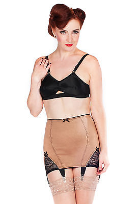 079 cream high waisted rollon sheer girdle with 6 suspender tabs all sizes