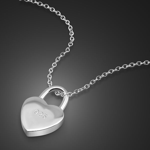 "Solid Sterling Silver Heart Lock Pendant O Chain Lady's Necklace 18"" N238"