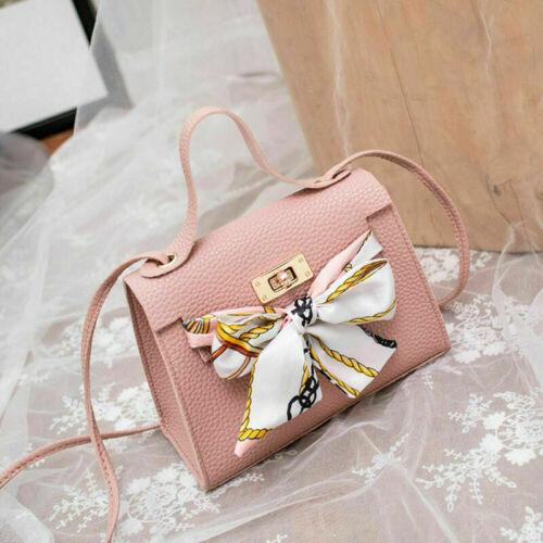 Women Lady Leather Silk Bow Crossbody Shoulder Phone Bag Handbags Satchel Purse