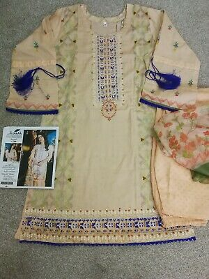 Pakistani//Indian Asian Stitch Shalwar Kameez 3 piece Designer Lawn Suit Replica