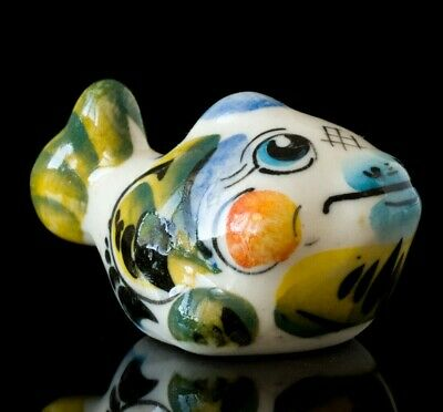 Fish Collectible Gzhel style Colorful Porcelain Figurine hand-painted