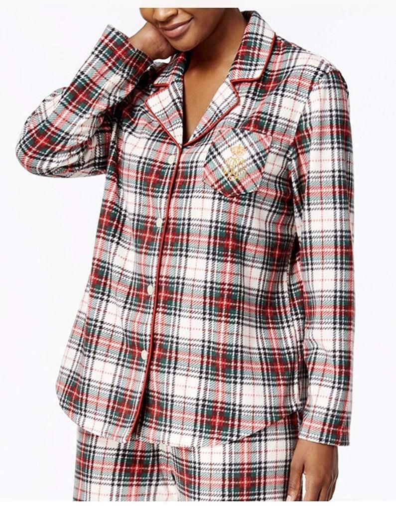 Ralph Lauren Monogrammed RLL Women Tartan Plaid Plush Fleece Pajamas - All Sizes