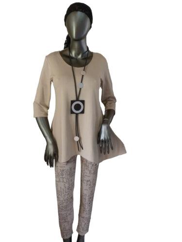 Gr.M L XL XXL Shirt Longshirt Tunika Jerseyshirt zeitlos edel Sand LAGENLOOK