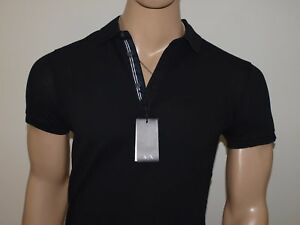 a7743d24 Details about Armani Exchange Authentic Embroidered Logo Pique Stretch Polo  Shirt Black NWT