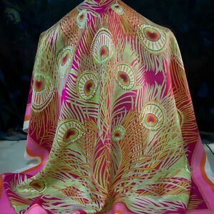 Liberty-authentic-pure-mulberry-silk-twill-FABRIC-Peacock-feather-90-x-90cm