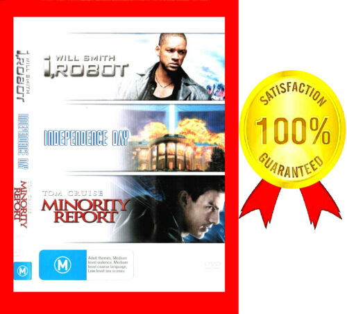 1 of 1 - LIKE NEW/VERY GOOD R4 DVD, 3-DISC SET, I, ROBOT,INDEPENDENCE DAY,MINORITY REPORT
