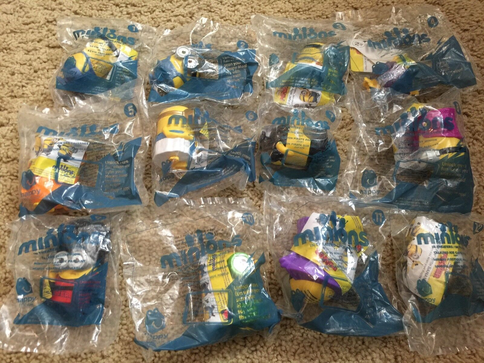 Minions McDonald's Happy Meal Toy 2015 Set of 12 and Walmart Minion Gift Card