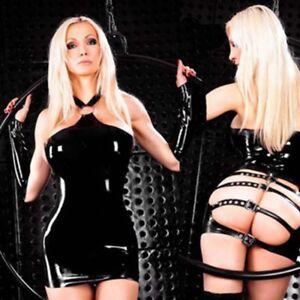 Sexy Womens Lingerie Mini Dress PVC Leather Bodysuit Bodycon Underwear Costume