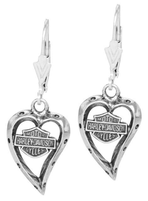Harley-Davidson Women's Bar & Shield Dangle Heart Earrings HDE0133