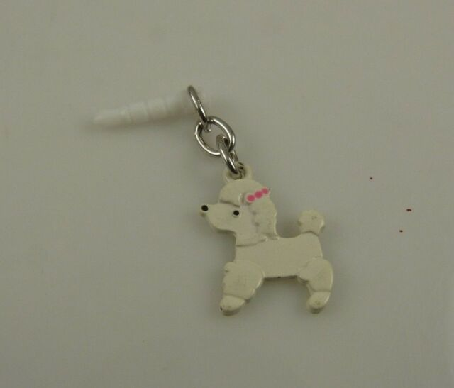 Puppy dog cell phone fits Ipad charm ear cap dust plug white french poodle plug
