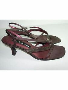 4b476e3bf4d Image is loading WOMENS-BROWN-SATIN-SPARKLE-NINA-SLINGBACK-EVENING-SANDALS-