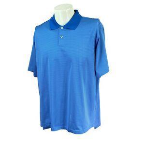 Adidas-Men-039-s-Climacool-Short-Sleeve-Polyester-Blue-Stripe-Golf-Polo-Shirt-Large