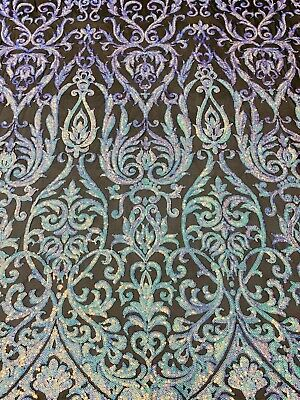 Embroidered Black Mesh For Dress Shop Iridescent Rainbow Sequins Fabric 4 Way Stretch By Yard