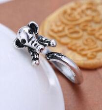 Retro Grey Elephant Black Eyes Love Animal Hug Ring Jewellery fashion silver UK