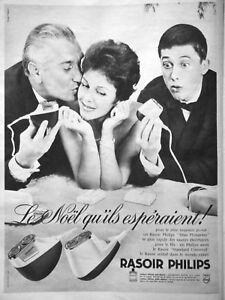 PUBLICITE-DE-PRESSE-1961-RASOIR-ELECTRIQUE-PHILIPS-TETES-FLOTTANTES