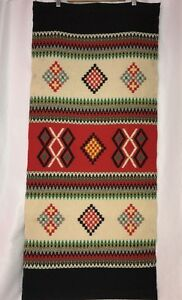 Vtg-4-039-Southwestern-Tapestry-Wall-Hanging-Loom-Rug-Mexico-Aztec-Native-Blanket