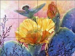 Hummingbird-Tile-Backsplash-Ceramic-Mural-Morrow-Southwest-Cactus-Art-RW-KM009