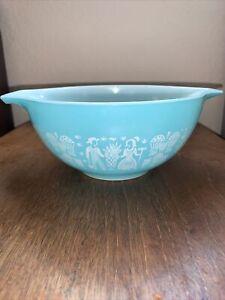 Vintage Pyrex Amish Butterprint 442 Cinderella Mixing Bowl Turquoise & White