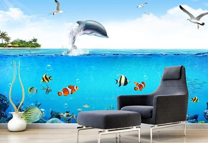 3D Springen von Delfinen 3 Fototapeten Wandbild Fototapete BildTapete Familie DE