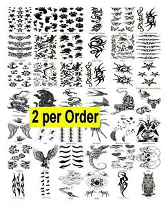 2-Temporary-Fake-Tattoos-Stocking-Filler-Halloween-Transfer-Fancy-Dress-Choice