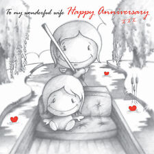 """To My Wonderful Wife Happy Anniversary"" Card Cupids couple on river red b&w"