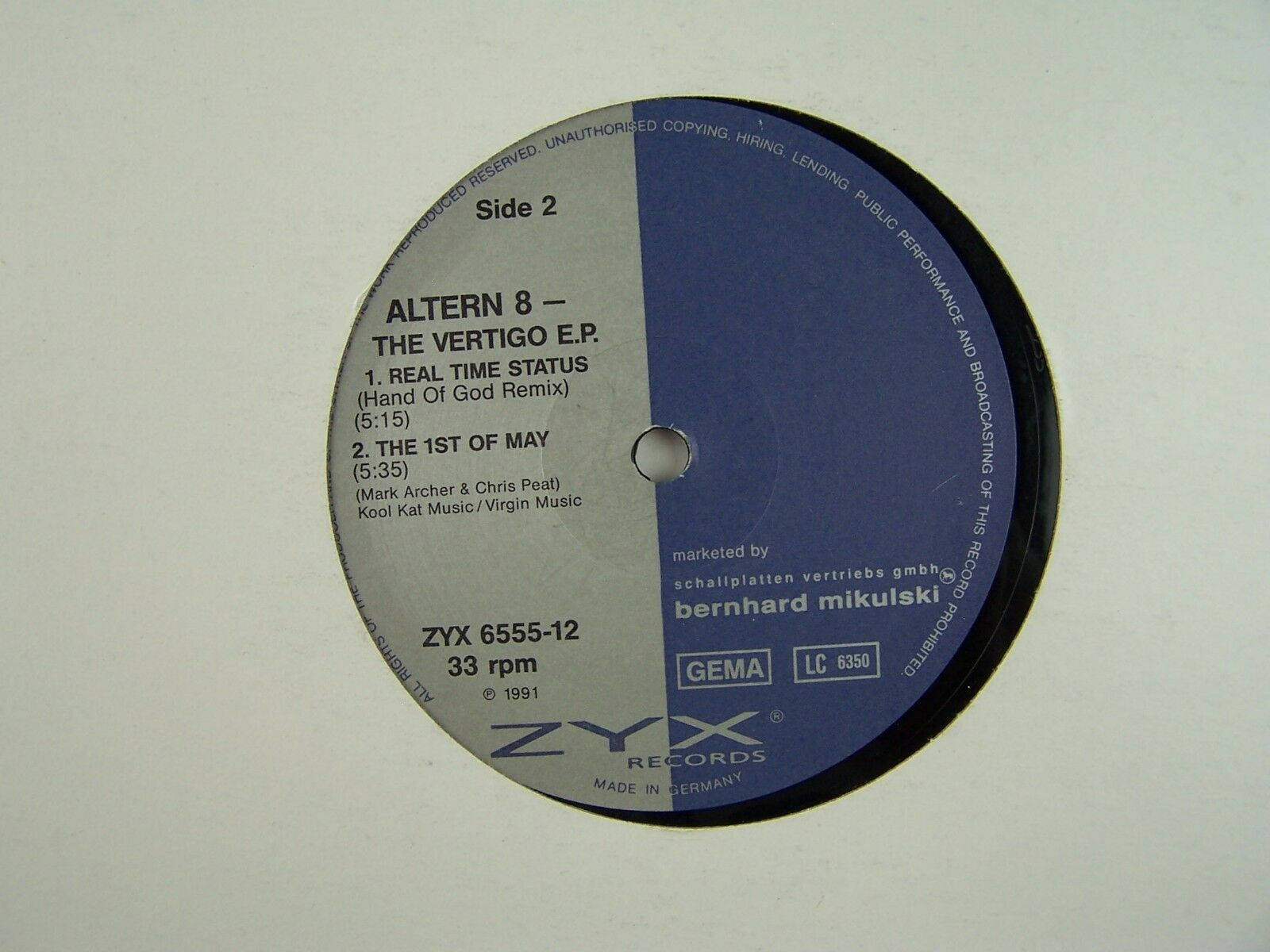"Altern 8 - The Vertigo EP Vinyl 12"" Single 33RPM Record"