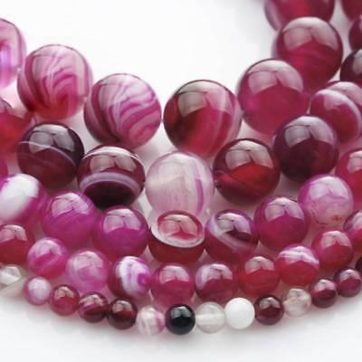 Achat Perlen rund fuchsia 4-16 mm facettiert 1 Strang BACATUS Edelsteine #1133