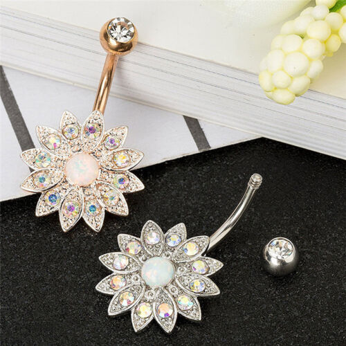 3PCS//Set Stainless Steel Crystal Opal Belly Button Rings Navel Piercing  STZP