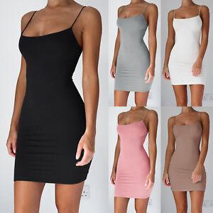 Sommer-Damen-Unterkleid-Bodycon-Short-MINI-Kleid-Spaghettitraeger-Slip-Dress