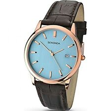 Sekonda Men's Quartz Watch with Blue Dial Analogue Display and Brown Leather ...