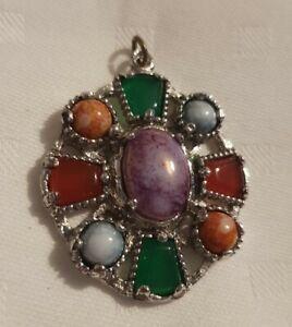 Vintage-Silvertone-Metal-Scottish-Celtic-Cross-Faux-Agate-Pendant-Only