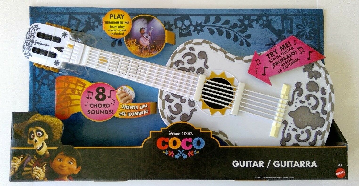 Disney Pixar Coco Toy Guitar White Lights Up 8 Chord Sounds Remember