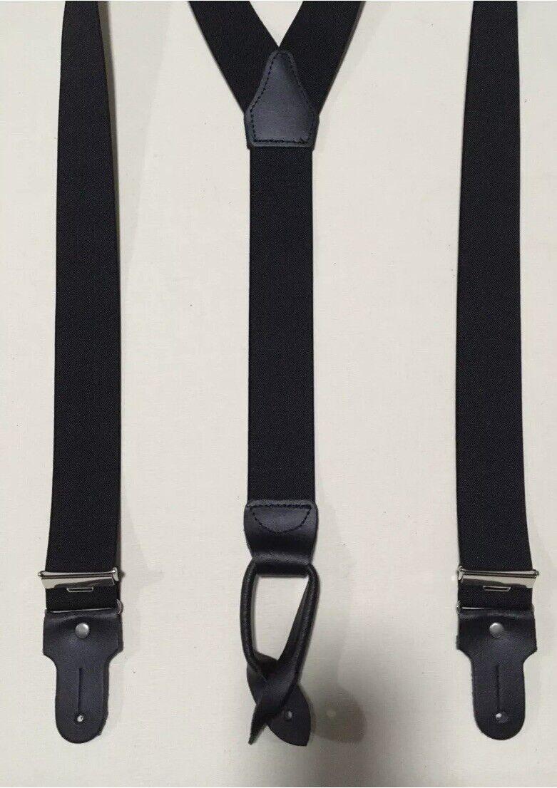 Hosenträger 4 Knopflöcher 35mm in Schwarz 120cm Neu Top Qualität Art.5