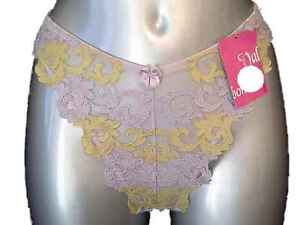 New-Sheer-Lilac-Thong-10-12-Sexy-floral-embroidery-detail-Eur-42-44-knickers