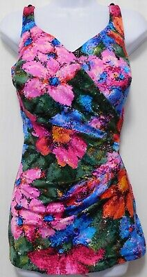 Roxanne Pleated FLOWER PRINT Vintage One-Piece Swimsuit